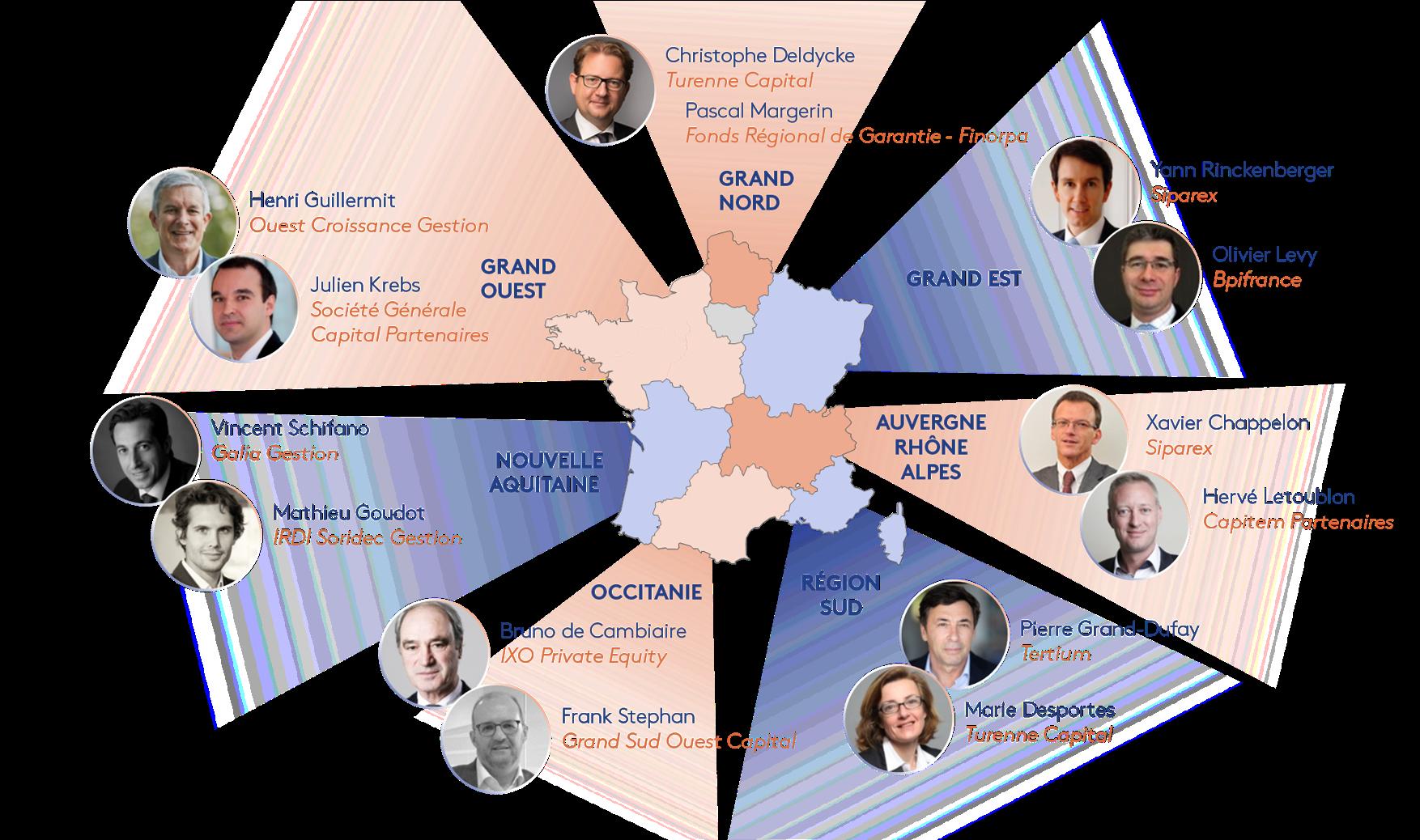Cartographie des délégués régionaux de France Invest